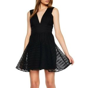Bardot Black V Neck Lace Cocktail Dress (M57B)